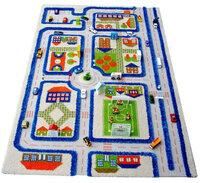 IVI Детский 3d игровой ковер Трафик (голубой), Размер: 100Х150