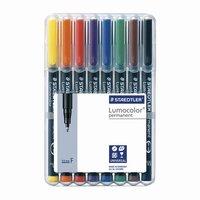 Набор перманентных маркеров STAEDTLER Lumocolor 8 шт., круглые, 0,6 мм, 318 WP8