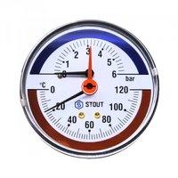 Термоманометр аксиальный STOUT (Стаут) Термоманометр аксиальный STOUT - 1/2 (D80 мм, шкала 0-120 C/0-4 бар, с запорным клапаном)