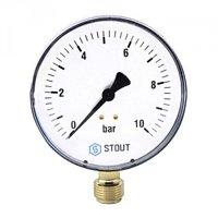 Манометр радиальный STOUT (Стаут) Манометр радиальный STOUT - 1/2 (D80 мм, шкала 0-10 бар)