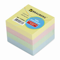 Блок самоклеящийся (стикер), BRAUBERG, 51х51 мм, 400 л., 4 цвета, 122858
