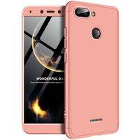 Пластиковая накладка GKK LikGus 360 градусов для Xiaomi Redmi 6 (Розовый / Rose Gold)