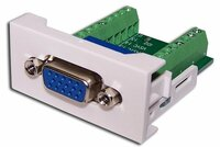 Розетка Mosaic Lanmaster LAN-WA-LP-VGA16-WH 22.5x45 с адаптером VGA D-SUB (HDB-15), мама, белая