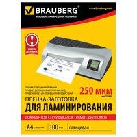 Пленки-заготовки для ламинирования BRAUBERG, комплект 100 шт., для формата А4, 250 мкм
