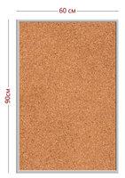 Информационная доска стенд (пластик + пробковое полотно 90см х 60см + алюминиевая рамка)