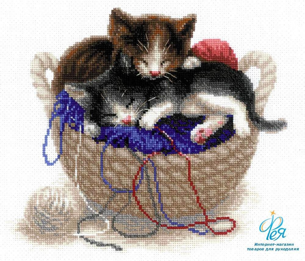 Наборы для вышивки крестом кошки