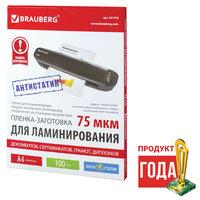 Пленки-заготовки для ламинированияя антистатик BRAUBERG, комплект 100 шт., для формата A4, 75 мкм, 531792