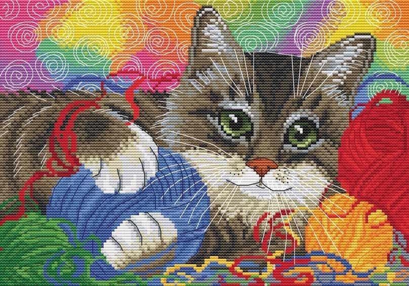 Котенок с клубком вышивка 35