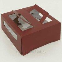 Коробка для торта с окном и ручками 26 х 26 х 13 см шоколадная