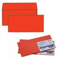 Конверты С65 (114х229 мм), отрывная полоса, красные, 120 г/м2, комплект 5 шт., европодвес, 206А.5