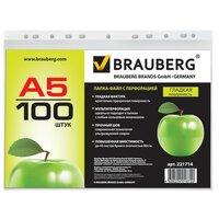 Папки-файлы перфорированные BRAUBERG, комплект 100 шт., А5, вертикальные, гладкие, яблоко, 0,035 мм
