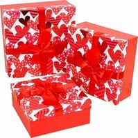 Подарочная упаковка, красный, 3 шт