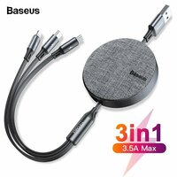 Кабель Baseus Fabric 3-in-1 Flexible Cable USB For M+L+T 3.5A 1.2m (CAMLT-BYG1)