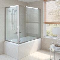 Шторка для ванны Vegas Glass ZV+ZVF 150*90 08 01 стекло прозрачное, профиль глянцевый хром