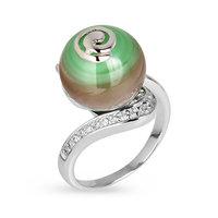 Серебряное кольцо с тигровым (кошачьим) глазом и фианитами JSR1310-12