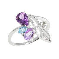 Серебряное кольцо Candy с аметистом, топазом и фианитами арт. CDR005