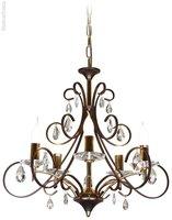 Люстра подвесная хрустальная с лампами в виде свечей Velante 366-603-05