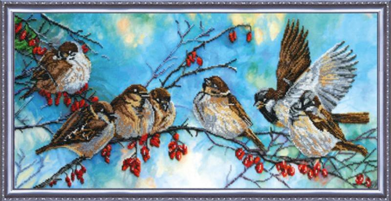 Вышивка бисером птички в лесу 39