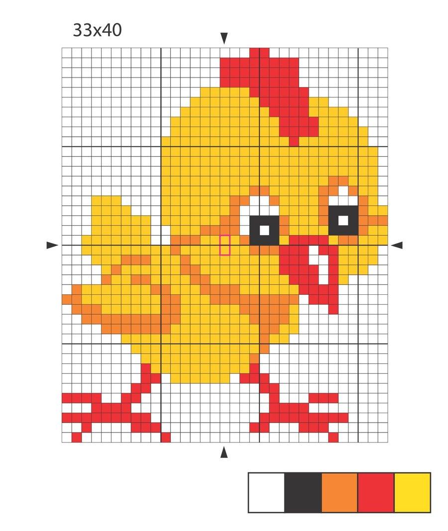 Вышивание цыпленка