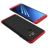 Пластиковая накладка GKK LikGus 360 градусов для Samsung A530 Galaxy A8 (2018) (Черный / Красный)