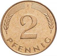 Монета Западная Германия (ФРГ) 2 пфеннига 1991 K255501