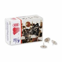 Кнопки канцелярские ICO металлические стальные, 100 штук в упаковке