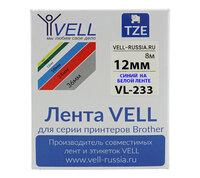 Лента Vell VL-233 (Brother TZE-233, 12 мм, синий на белом) для PT 1010/1280/D200/H105/E100/ D600/E300/2700/ P700/E550/97...