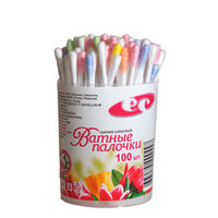 Разноцветные ватные палочки 100 шт в банке