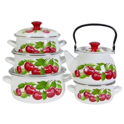 Набор посуды КМЗ Вишневый Сад 9 кастрюля кмз вишневый сад 2 л