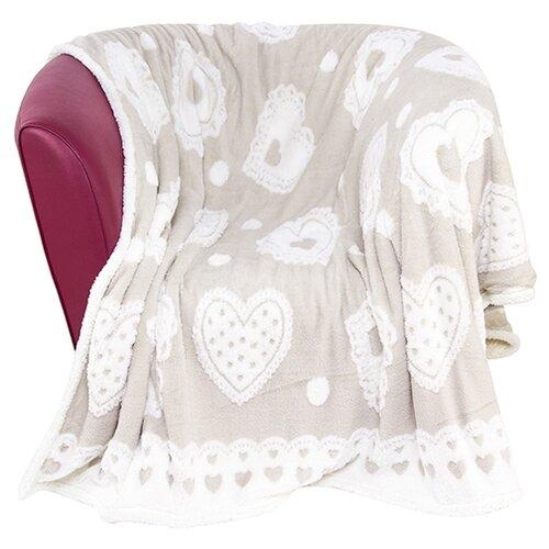 Плед EL CASA Бежевый с сердцами кофр для хранения el casa плетение 35 30 20 см коричневый
