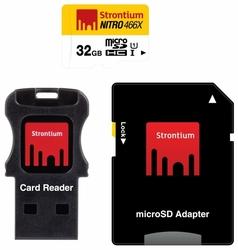 Карта памяти Strontium NITRO microSDHC Class 10 UHS-I U1 466X + SD adapter & USB Card Reader