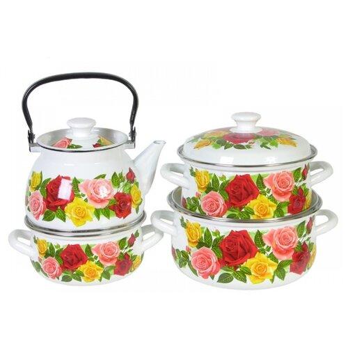 Набор посуды КМЗ Розовый рай 7 чайник кмз 3 л с узором