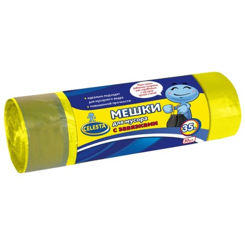 Мешки для мусора Celesta с мешки для мусора celesta с завязками цвет синий 35 л 30 шт