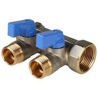 Коллектор проходной запорный STOUT (SMB 6201 341202) 3/4 НР-ВР, 2 отвода 1/2 (синие ручки)