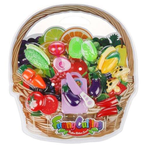 Набор продуктов с посудой Наша набор продуктов с посудой наша игрушка в корзинке xs16003b голубой розовый белый