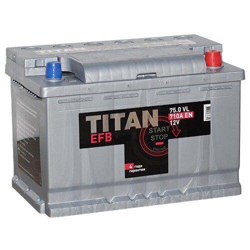 Фото - Аккумулятор TITAN EFB 6СТ-75.0 VL аккумулятор катод extra start 6ст 62n l l2