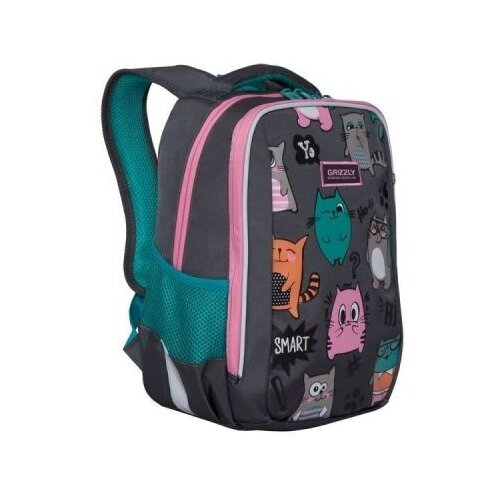 Рюкзак школьный Grizzly school bags grizzly 10521132 schoolbag backpack orthopedic bag for boy and girl animals flowers
