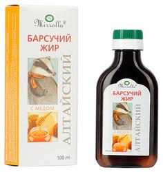 Барсучий жир Mirrolla Алтайский, обогащенный медом 100 мл