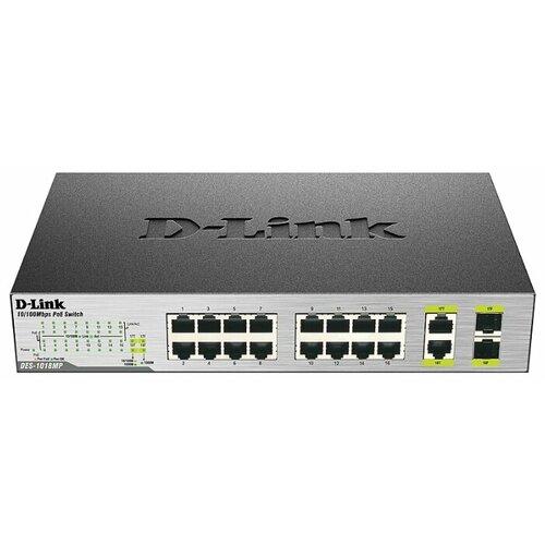 Коммутатор D-link DES-1018MP A1 коммутатор d link des 1018mp a1a неуправляемый 16 портов 10 100mbps 2хcombo poe