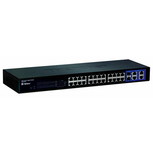 Фото - Коммутатор TRENDnet TEG-424WS сетевой адаптер trendnet teg ecsx teg ecsx оптоволоконный многомодовый 1000base sx адаптер с интерфейсом pci express