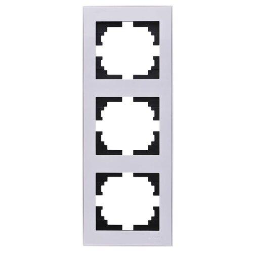 Рамка 3п Lezard 703-0202-153 розетка lezard 703 0202 124 серия скр проводки рейн защ от детей керамика белый с белой вставкой