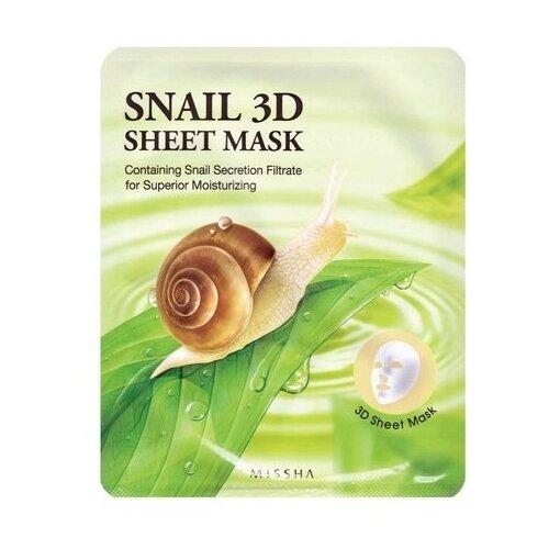 Missha Healing Snail 3D Sheet missha тканевая маска для лица healing snail 3d 21 г
