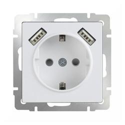 Розетка Werkel WL01-SKGS-USBx2-IP20,16А, с защитной шторкой, с заземлением, белый