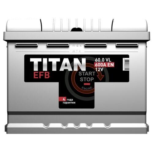 Фото - Аккумулятор TITAN EFB 6СТ-60.0 VL аккумулятор катод extra start 6ст 62n l l2