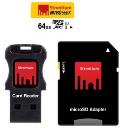 Карта памяти Strontium NITRO microSDXC Class 10 UHS-I U1 566X + SD adapter & USB Card Reader