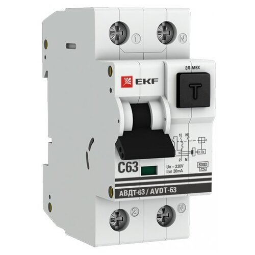 Дифференциальный автомат EKF автомат ekf mcb4763 6 3 25c pro