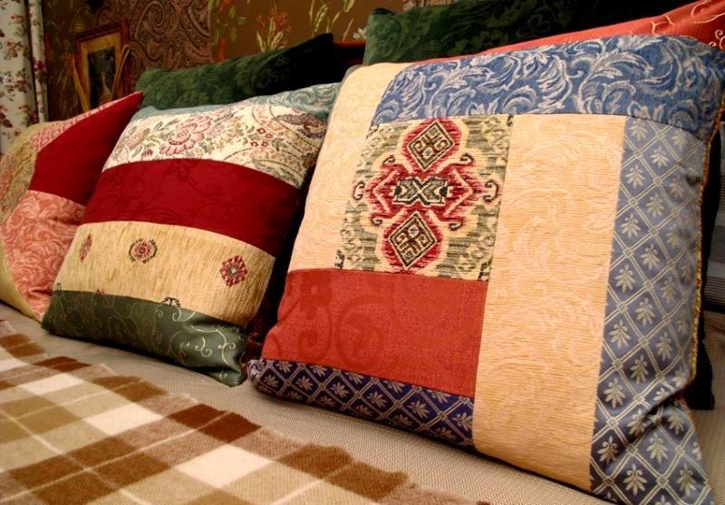 Сшить наволочку на подушку из кусков ткани 77
