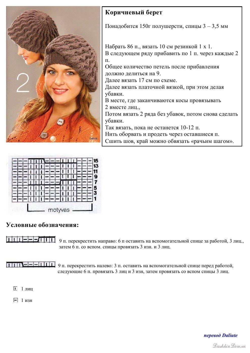 Схемы и фото вязания спицами шапок
