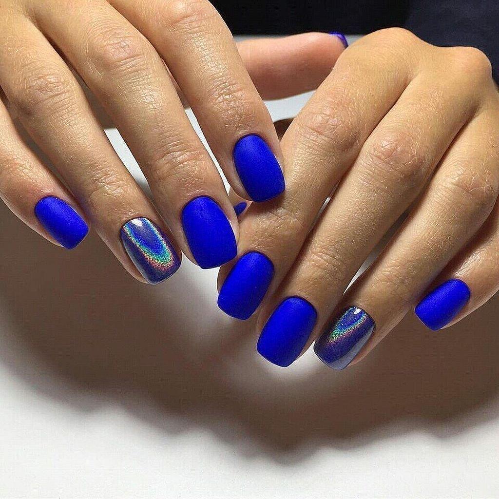 Гель Лак С Синим Цветом Фото