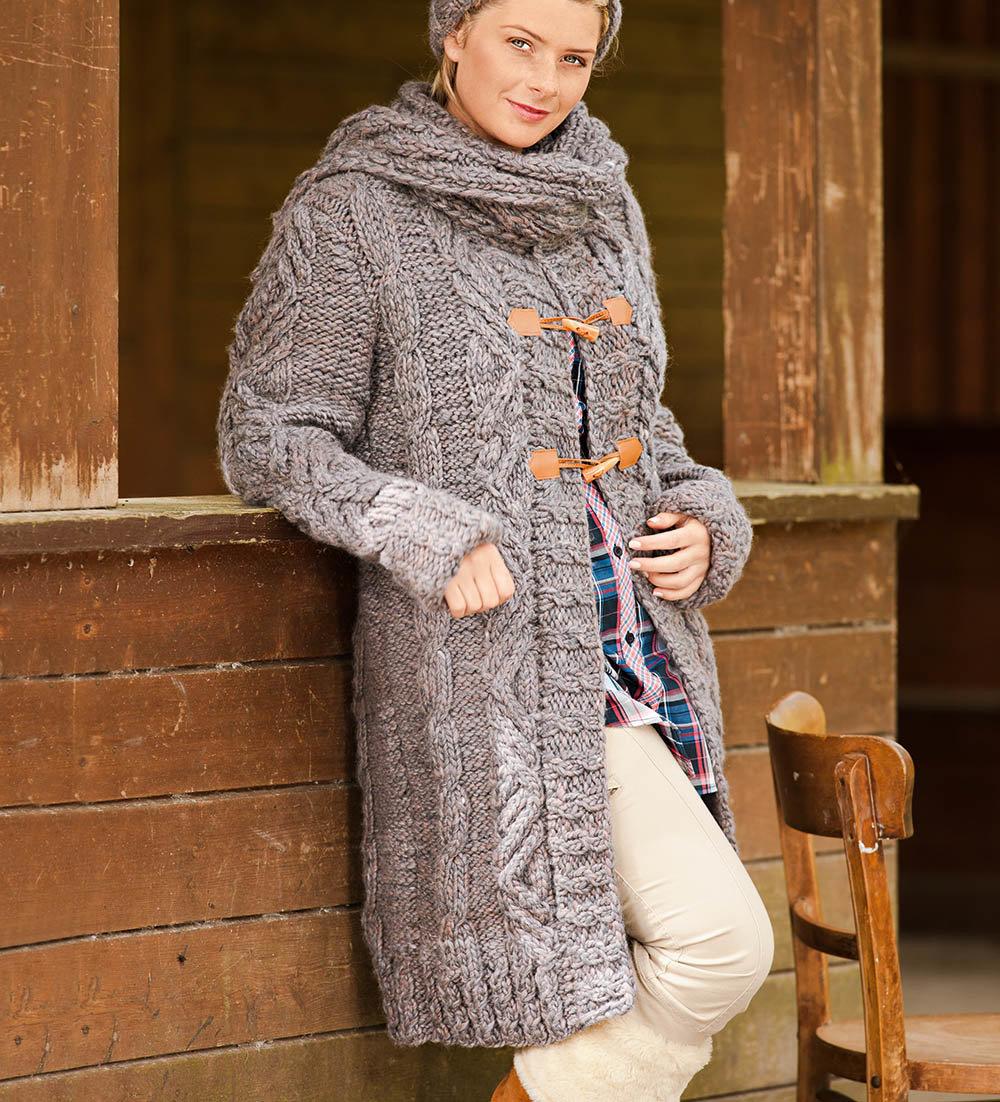 Вязанное пальто фото и схемы